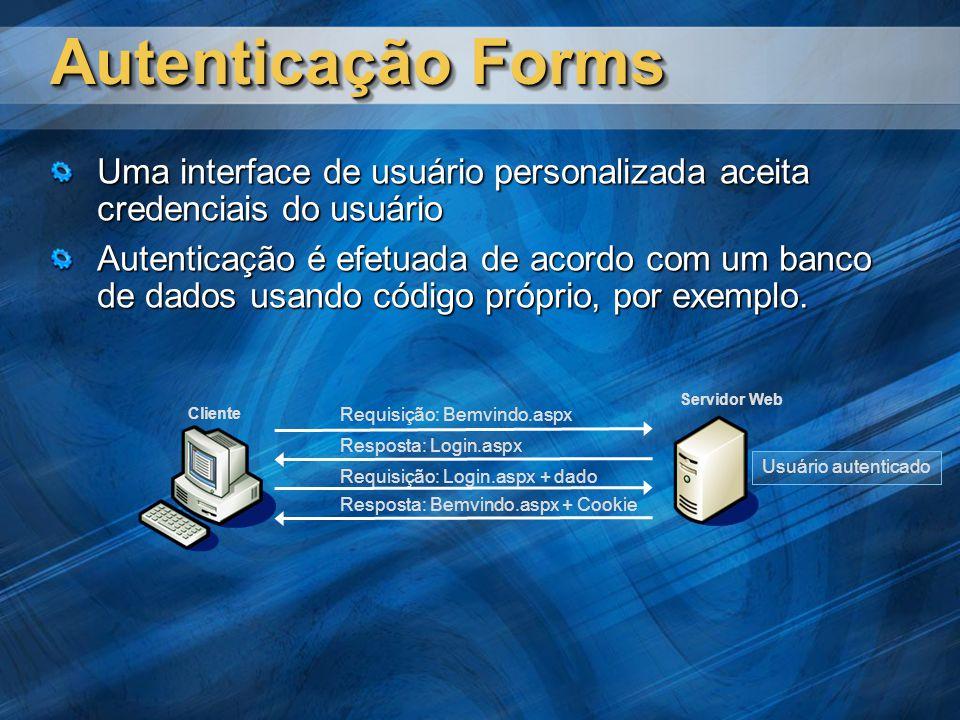 Autenticação Forms Uma interface de usuário personalizada aceita credenciais do usuário.