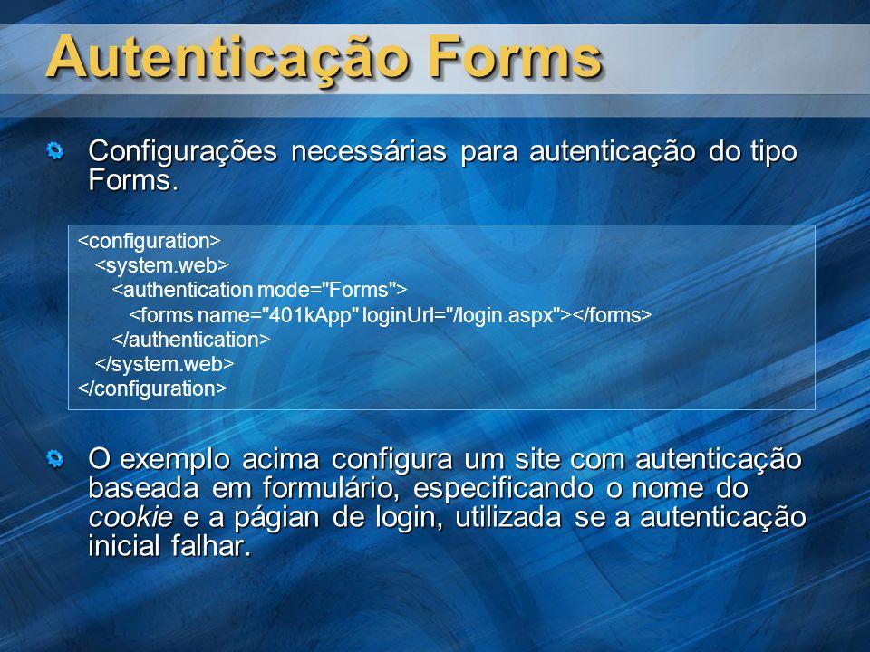 Autenticação Forms Configurações necessárias para autenticação do tipo Forms.