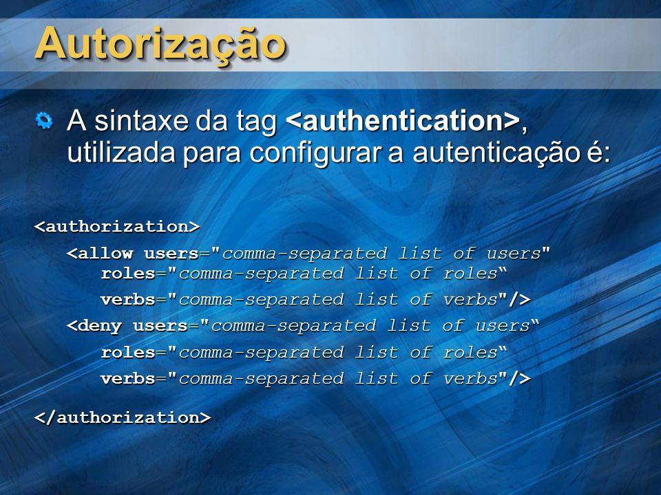 Autorização A sintaxe da tag <authentication>, utilizada para configurar a autenticação é: <authorization>