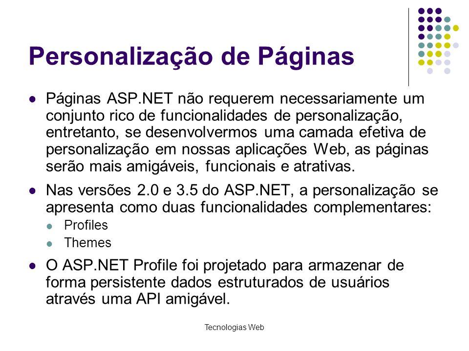 Personalização de Páginas