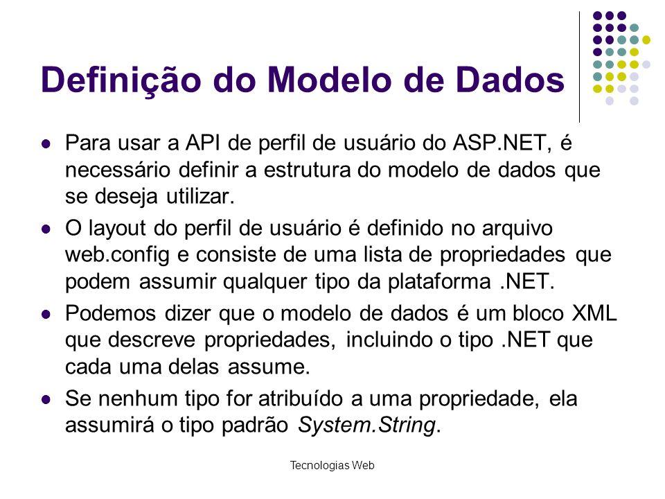 Definição do Modelo de Dados