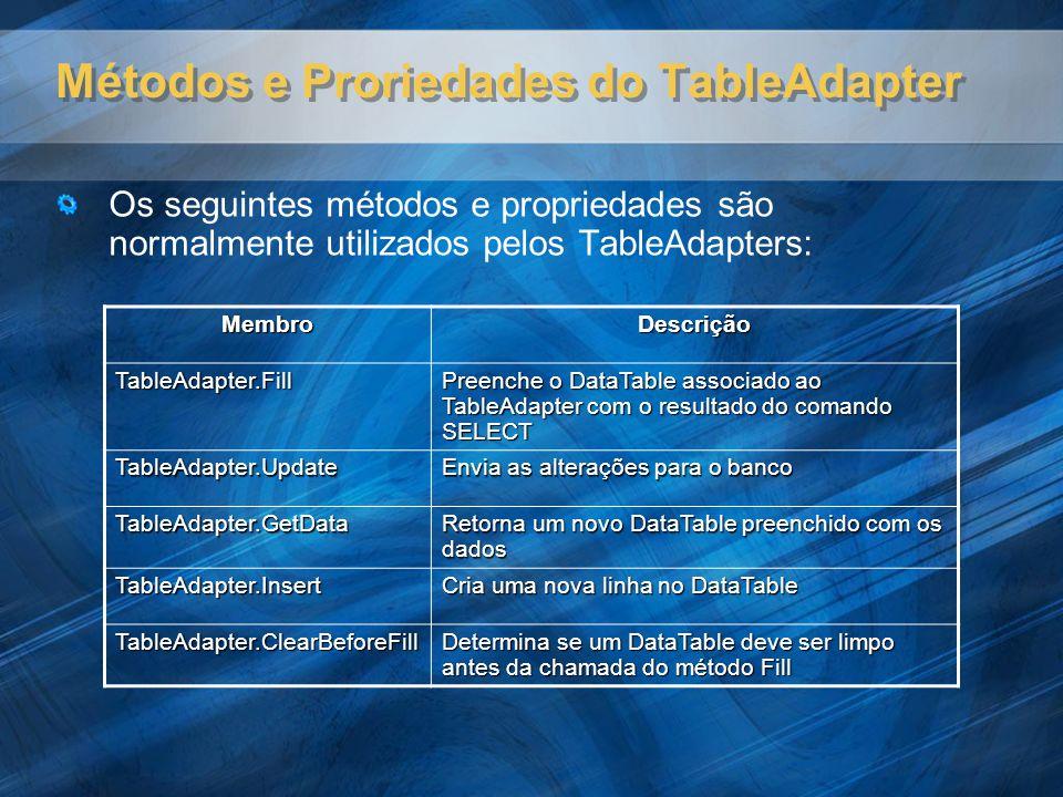 Métodos e Proriedades do TableAdapter