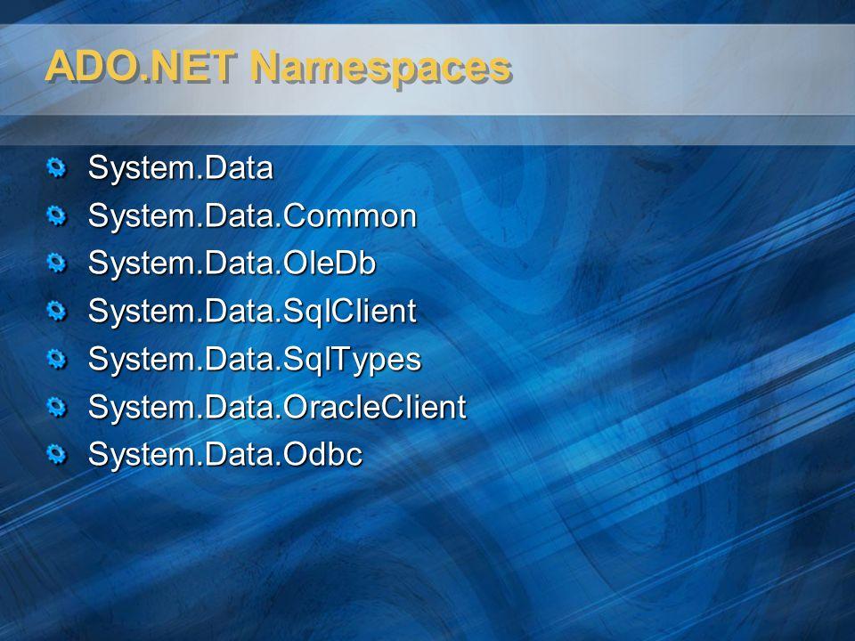 ADO.NET Namespaces System.Data System.Data.Common System.Data.OleDb