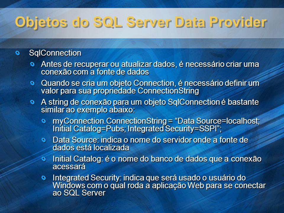 Objetos do SQL Server Data Provider