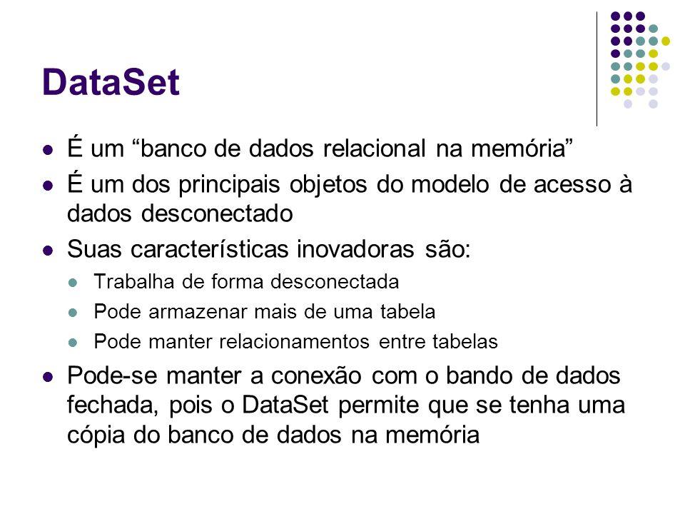DataSet É um banco de dados relacional na memória