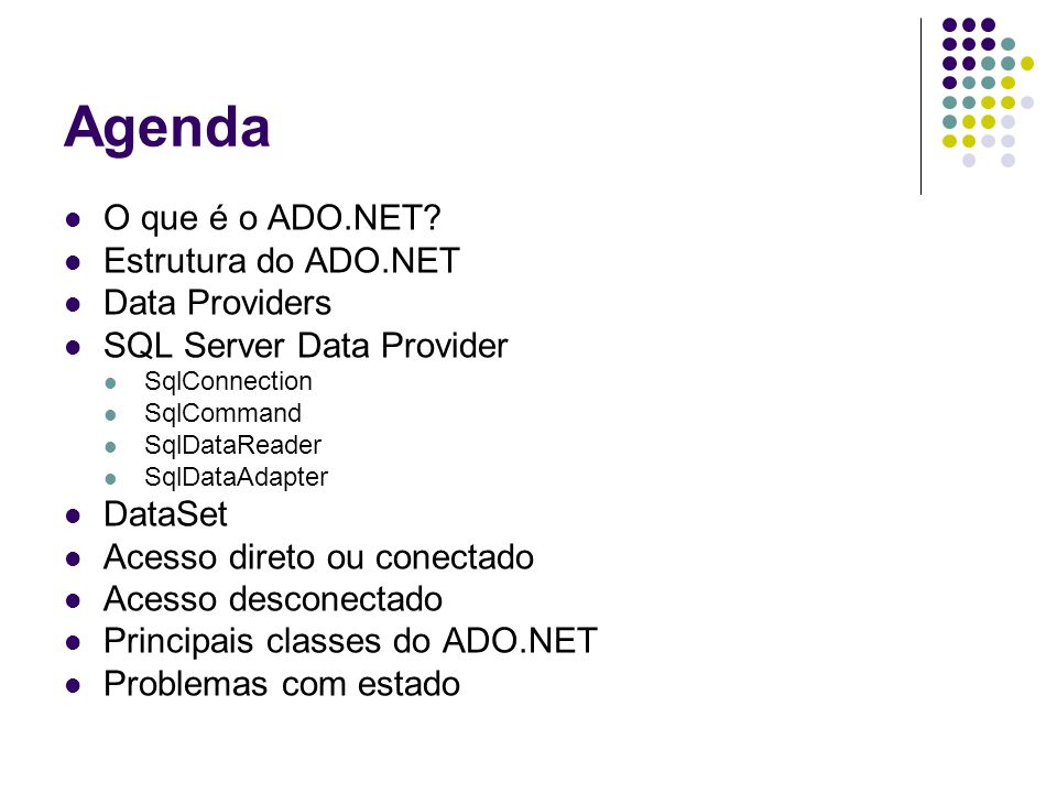 Agenda O que é o ADO.NET Estrutura do ADO.NET Data Providers