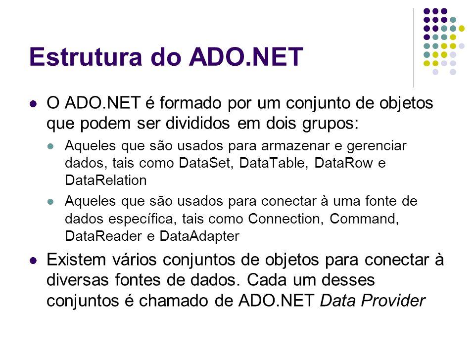 Estrutura do ADO.NET O ADO.NET é formado por um conjunto de objetos que podem ser divididos em dois grupos: