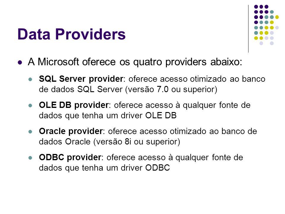 Data Providers A Microsoft oferece os quatro providers abaixo: