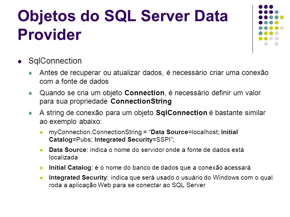 Objetos do SQL Server Data Provider