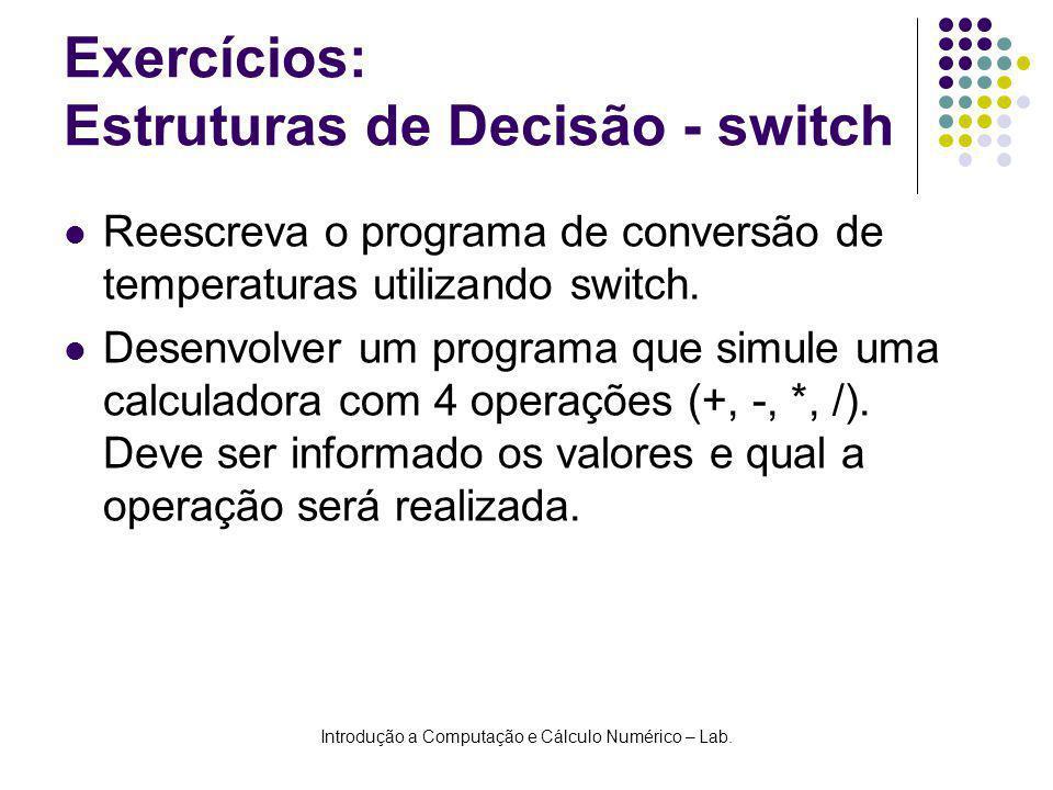 Exercícios: Estruturas de Decisão - switch