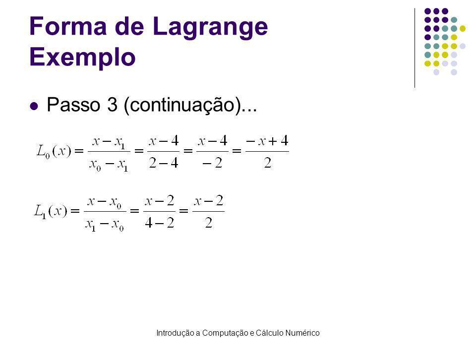 Forma de Lagrange Exemplo
