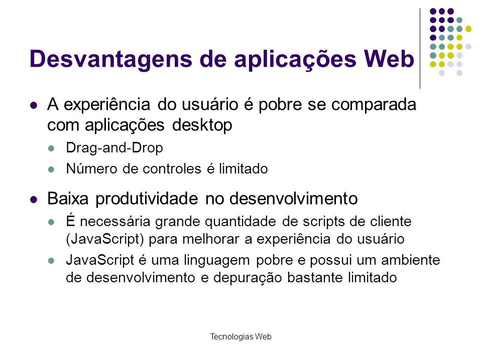 Desvantagens de aplicações Web