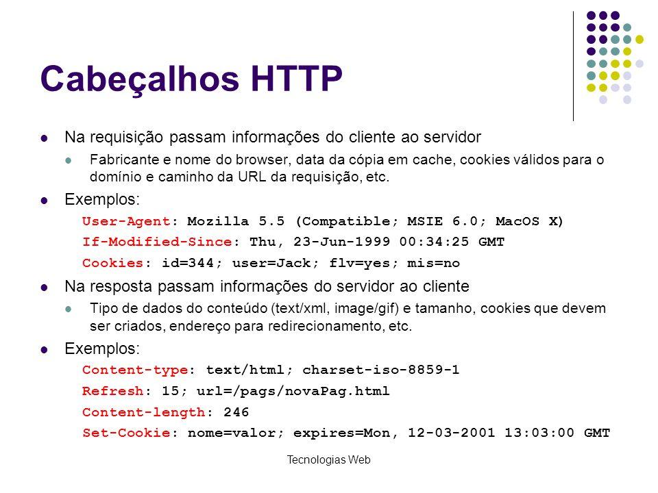 Cabeçalhos HTTP Na requisição passam informações do cliente ao servidor.