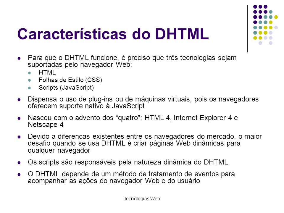 Características do DHTML