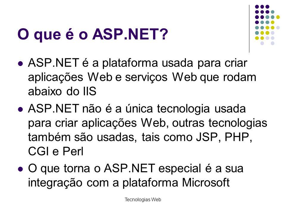 O que é o ASP.NET ASP.NET é a plataforma usada para criar aplicações Web e serviços Web que rodam abaixo do IIS.