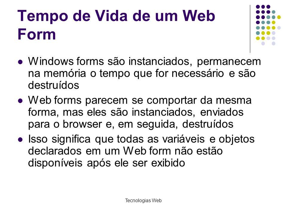 Tempo de Vida de um Web Form