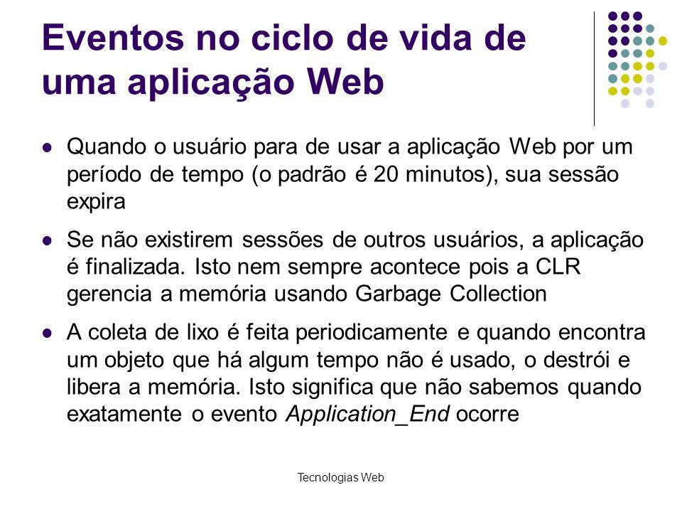 Eventos no ciclo de vida de uma aplicação Web