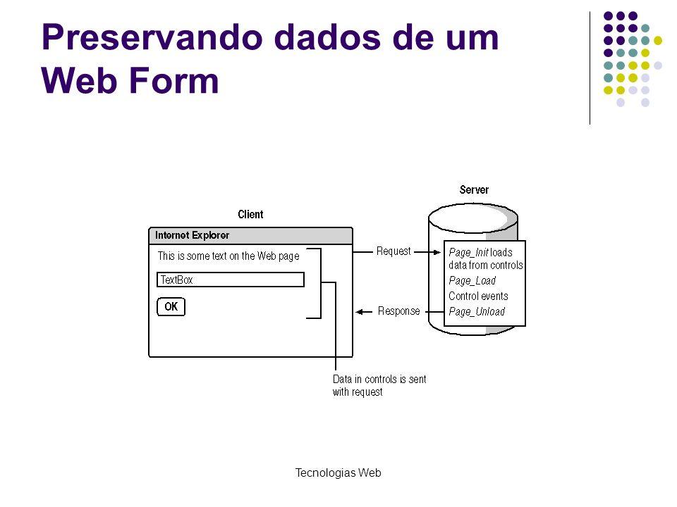 Preservando dados de um Web Form