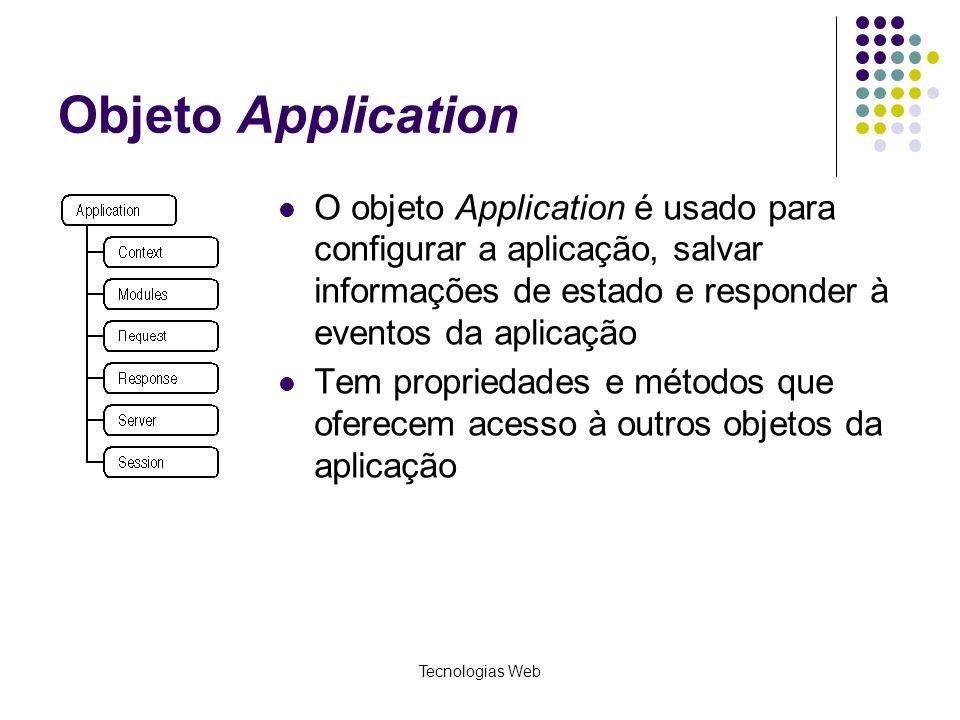 Objeto Application O objeto Application é usado para configurar a aplicação, salvar informações de estado e responder à eventos da aplicação.