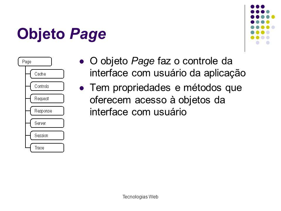 Objeto Page O objeto Page faz o controle da interface com usuário da aplicação.