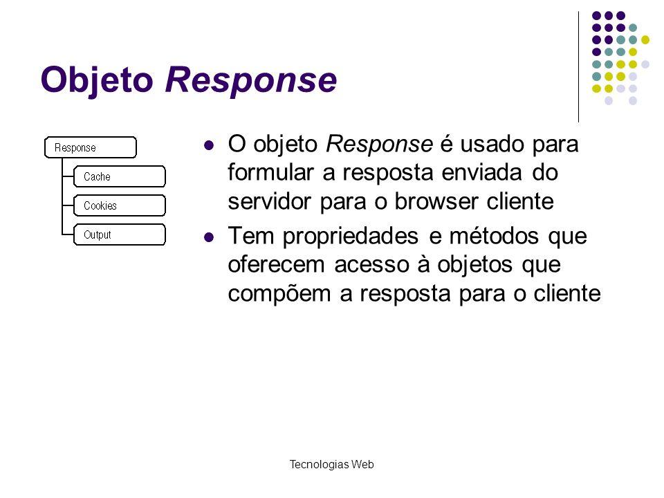 Objeto Response O objeto Response é usado para formular a resposta enviada do servidor para o browser cliente.