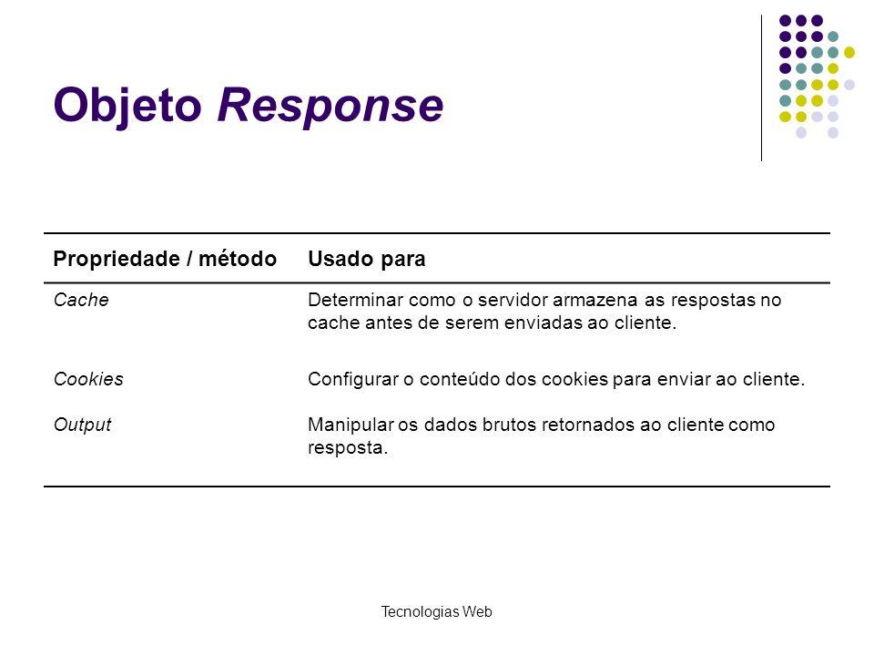 Objeto Response Propriedade / método Usado para Cache