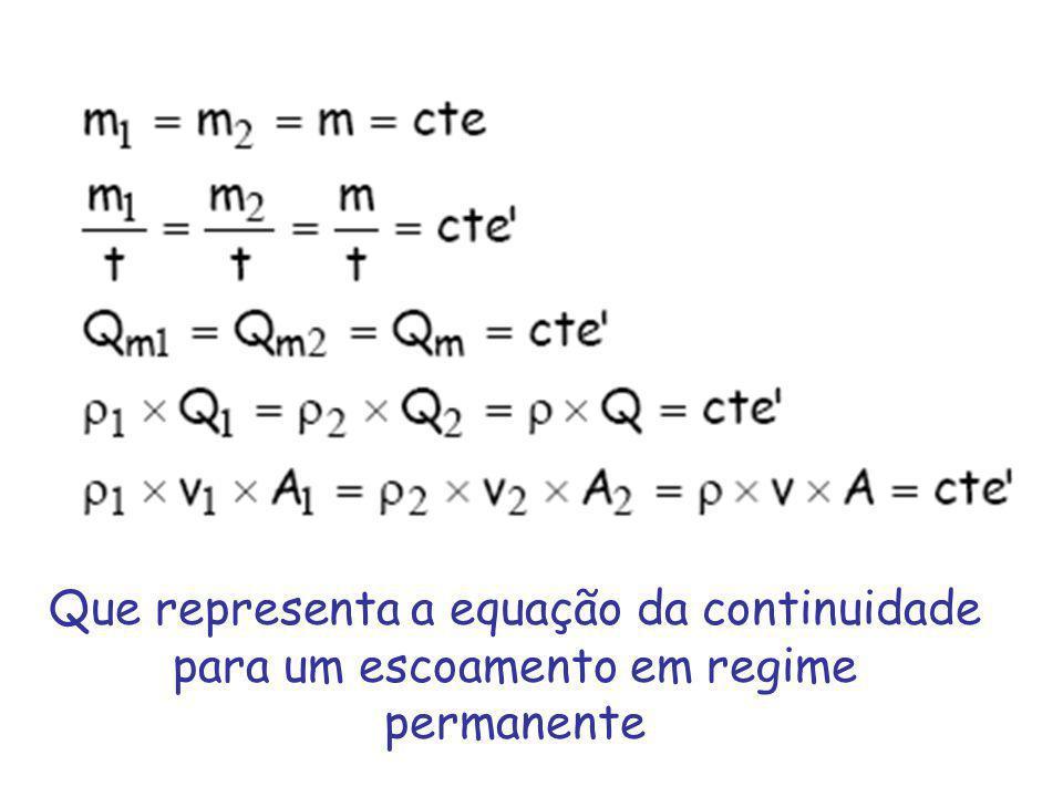 Que representa a equação da continuidade para um escoamento em regime permanente