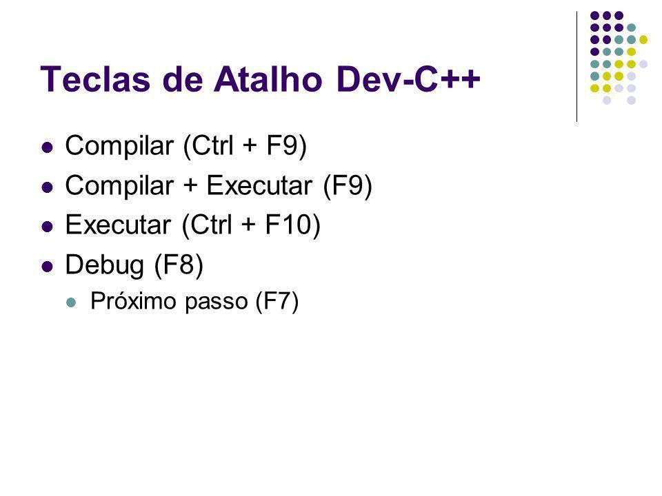 Teclas de Atalho Dev-C++