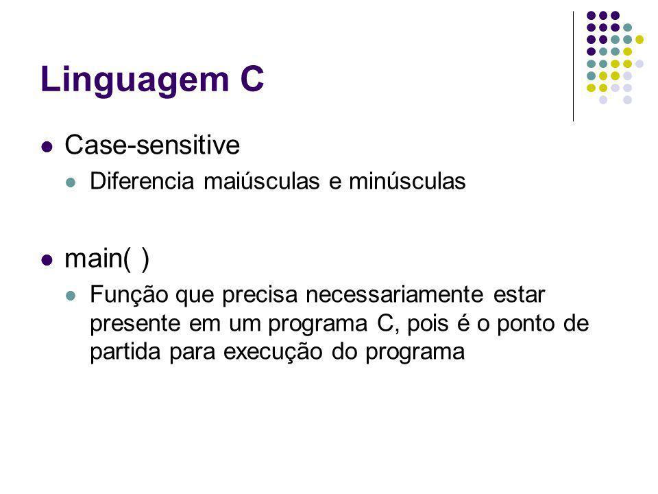 Linguagem C Case-sensitive main( ) Diferencia maiúsculas e minúsculas