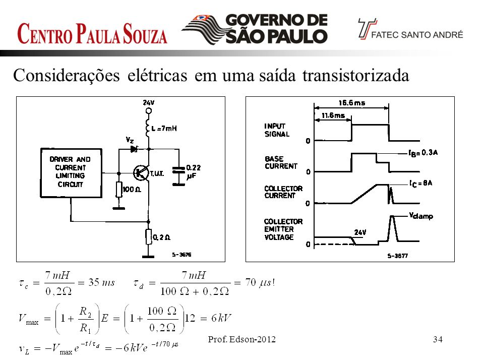 Considerações elétricas em uma saída transistorizada