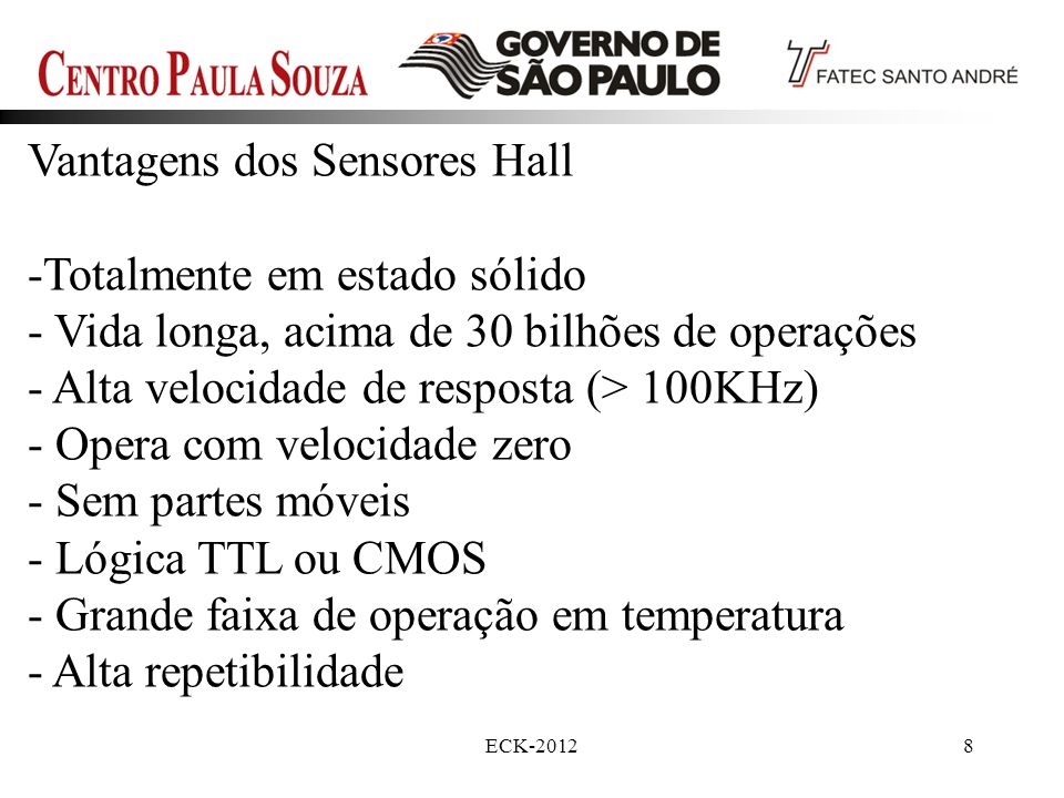 Vantagens dos Sensores Hall Totalmente em estado sólido