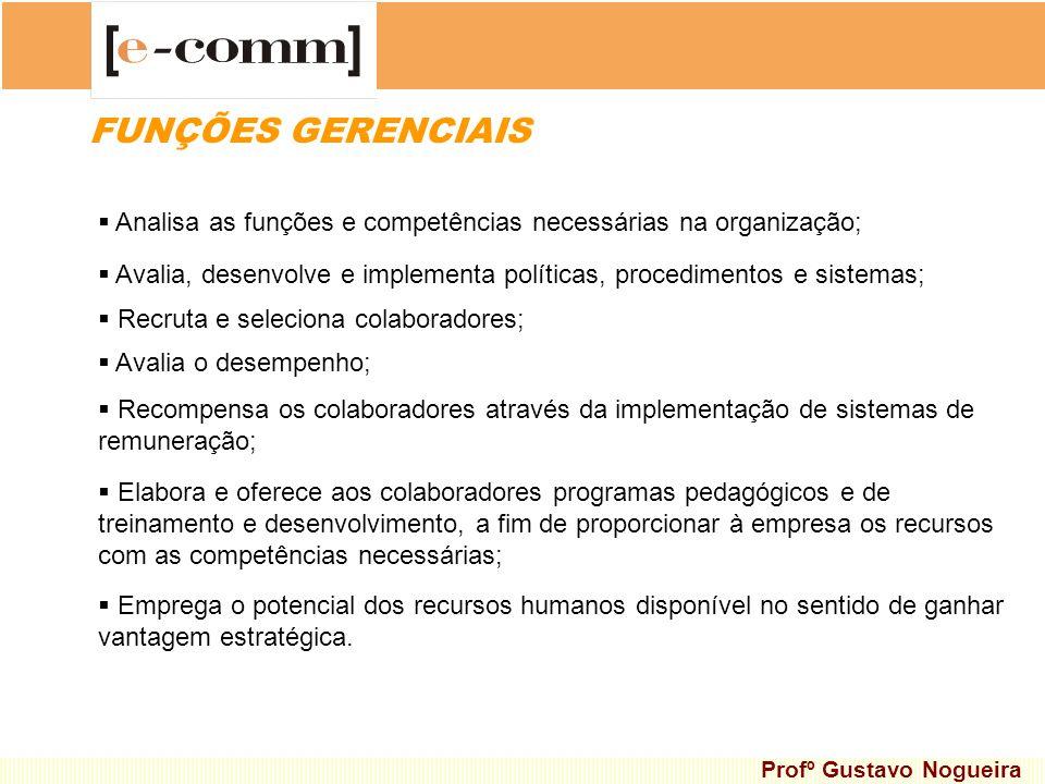 FUNÇÕES GERENCIAIS Analisa as funções e competências necessárias na organização;