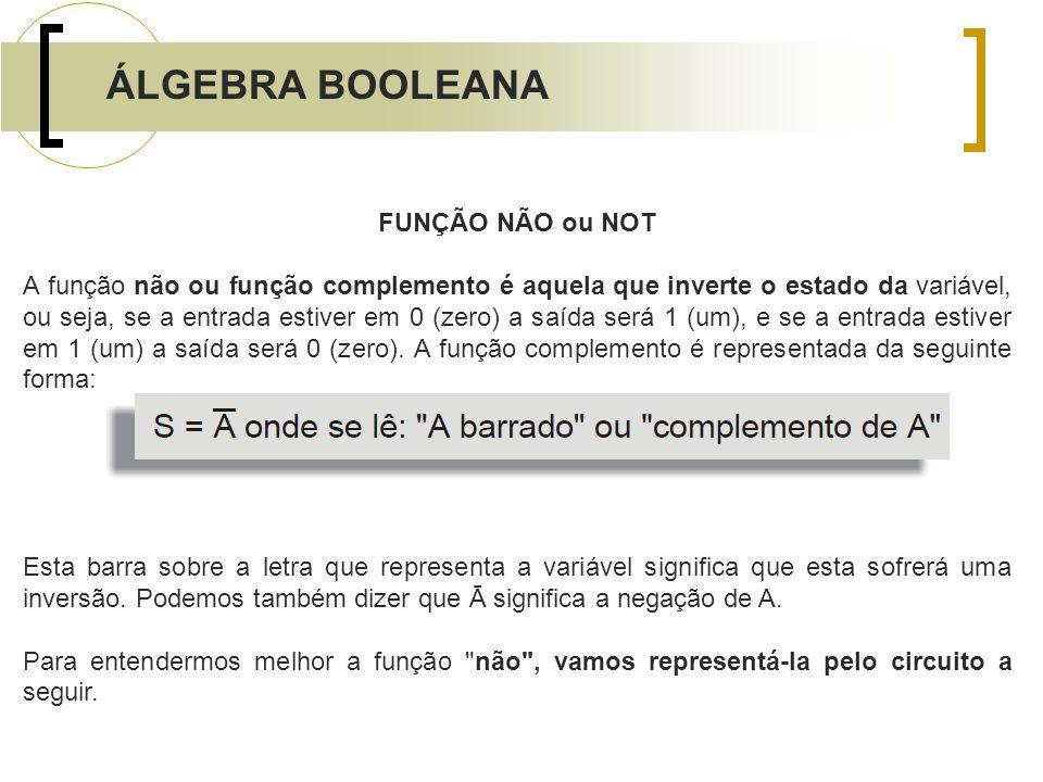 ÁLGEBRA BOOLEANA FUNÇÃO NÃO ou NOT