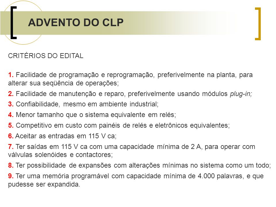 ADVENTO DO CLP CRITÉRIOS DO EDITAL