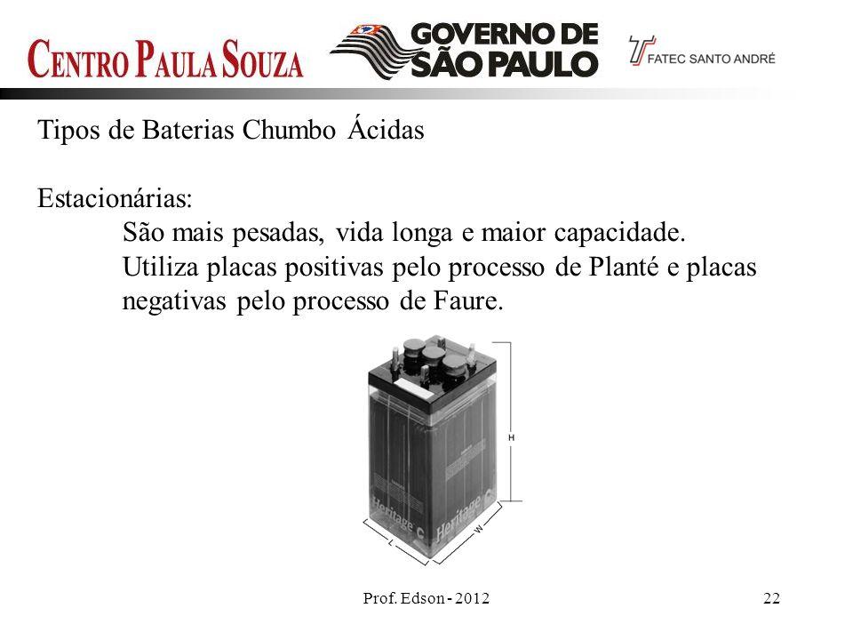 Tipos de Baterias Chumbo Ácidas Estacionárias: