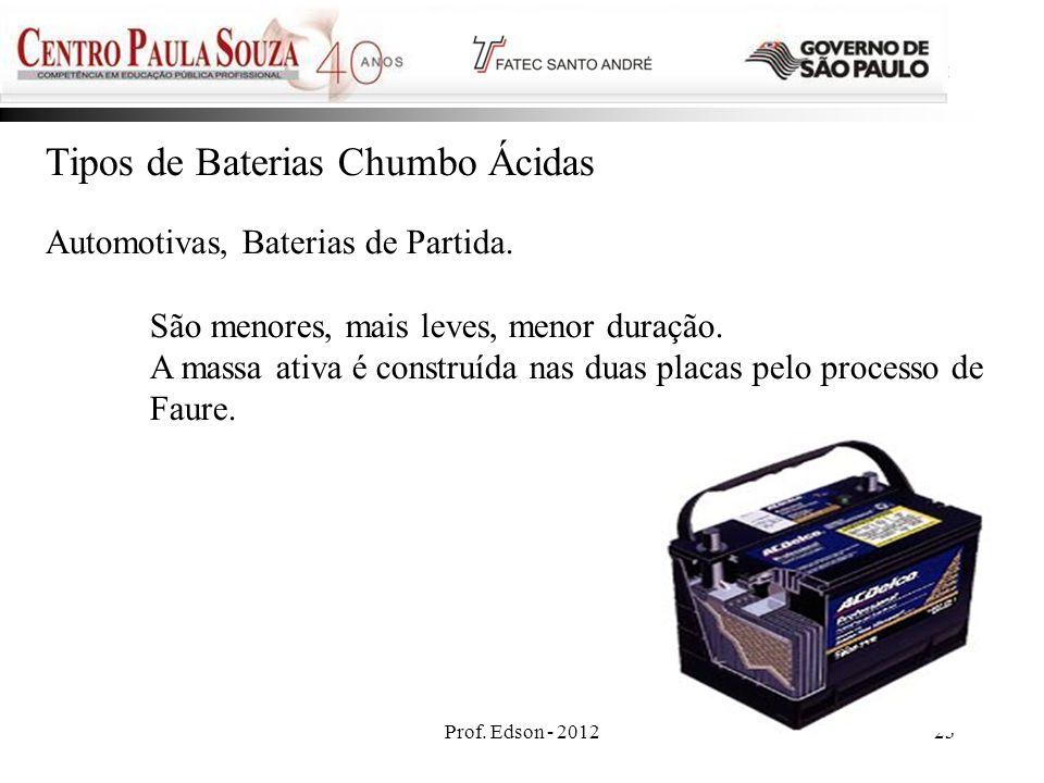 Tipos de Baterias Chumbo Ácidas
