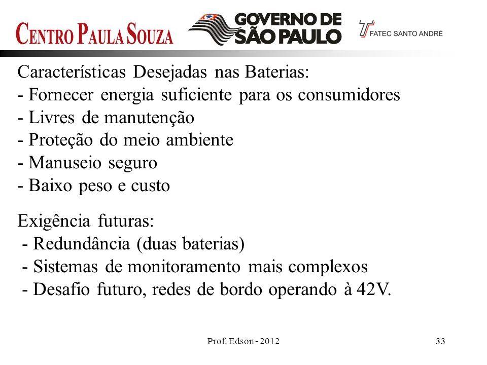 Características Desejadas nas Baterias: