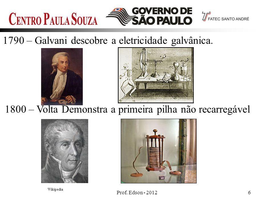 1800 – Volta Demonstra a primeira pilha não recarregável