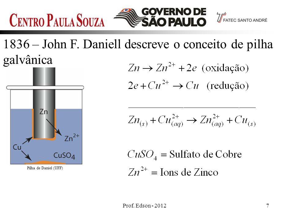 1836 – John F. Daniell descreve o conceito de pilha galvânica