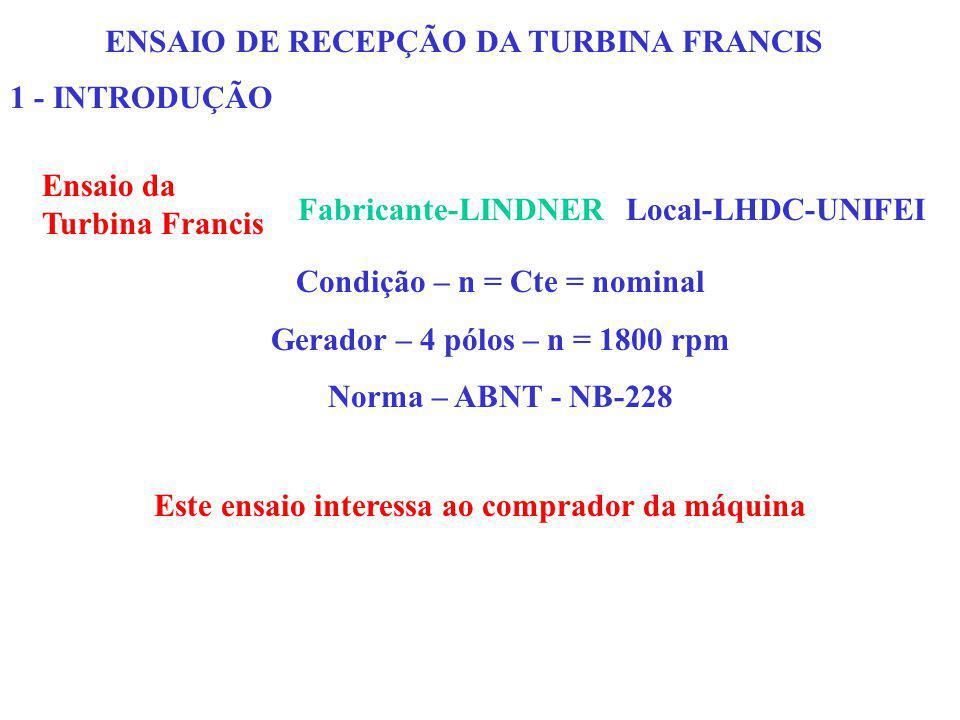 ENSAIO DE RECEPÇÃO DA TURBINA FRANCIS