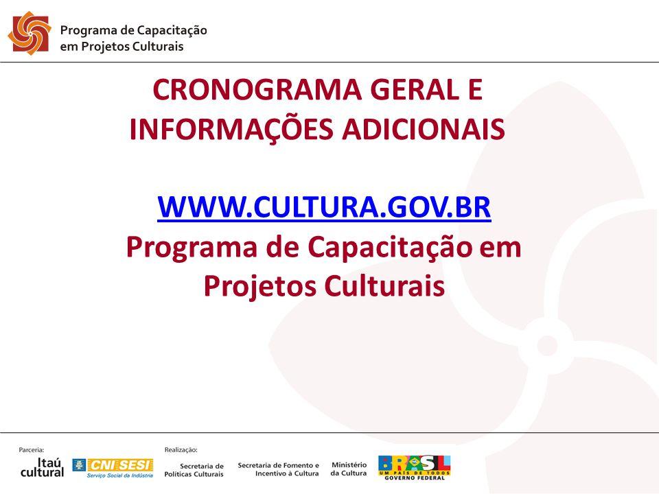 CRONOGRAMA GERAL E INFORMAÇÕES ADICIONAIS
