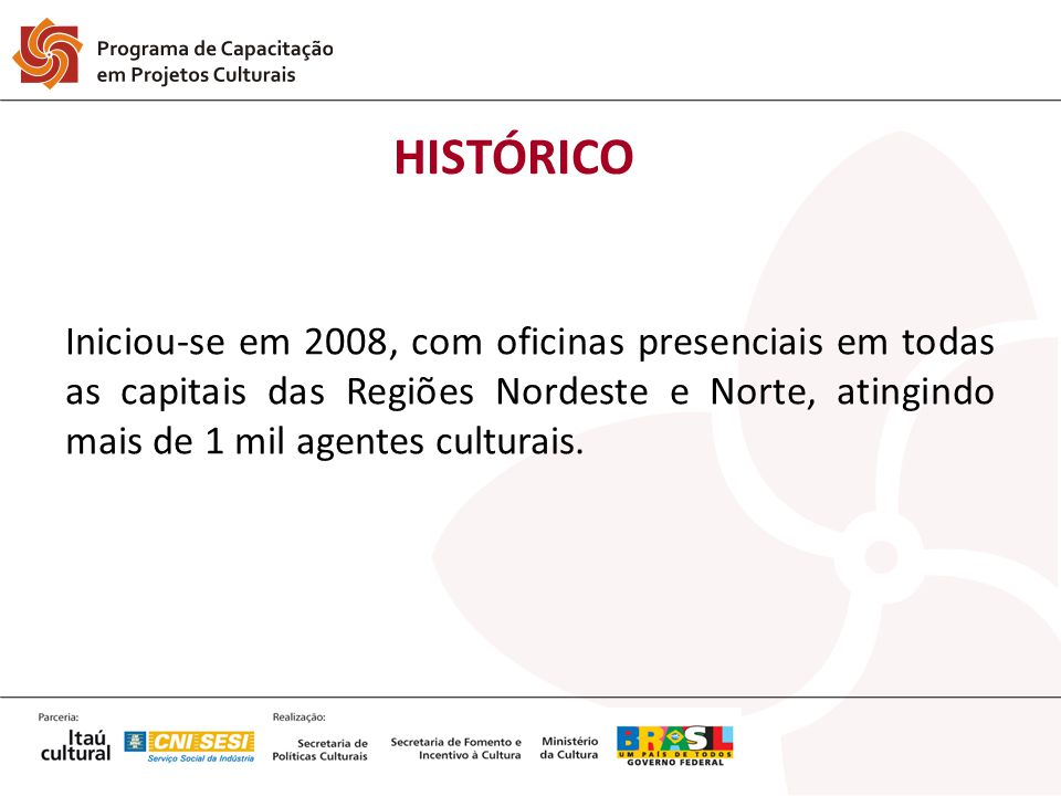 HISTÓRICO Iniciou-se em 2008, com oficinas presenciais em todas as capitais das Regiões Nordeste e Norte, atingindo mais de 1 mil agentes culturais.