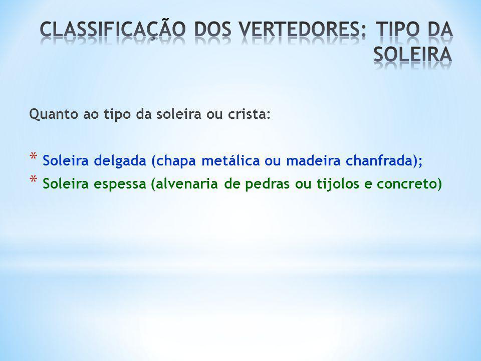 CLASSIFICAÇÃO DOS VERTEDORES: TIPO DA SOLEIRA