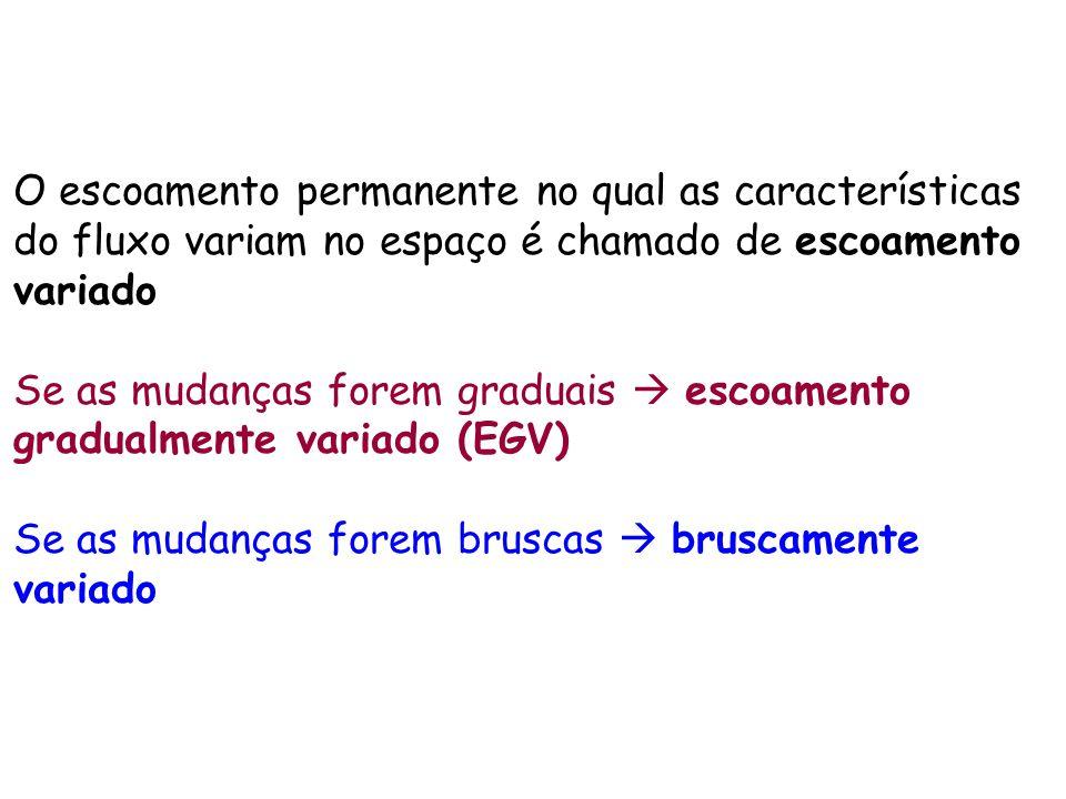 O escoamento permanente no qual as características do fluxo variam no espaço é chamado de escoamento variado