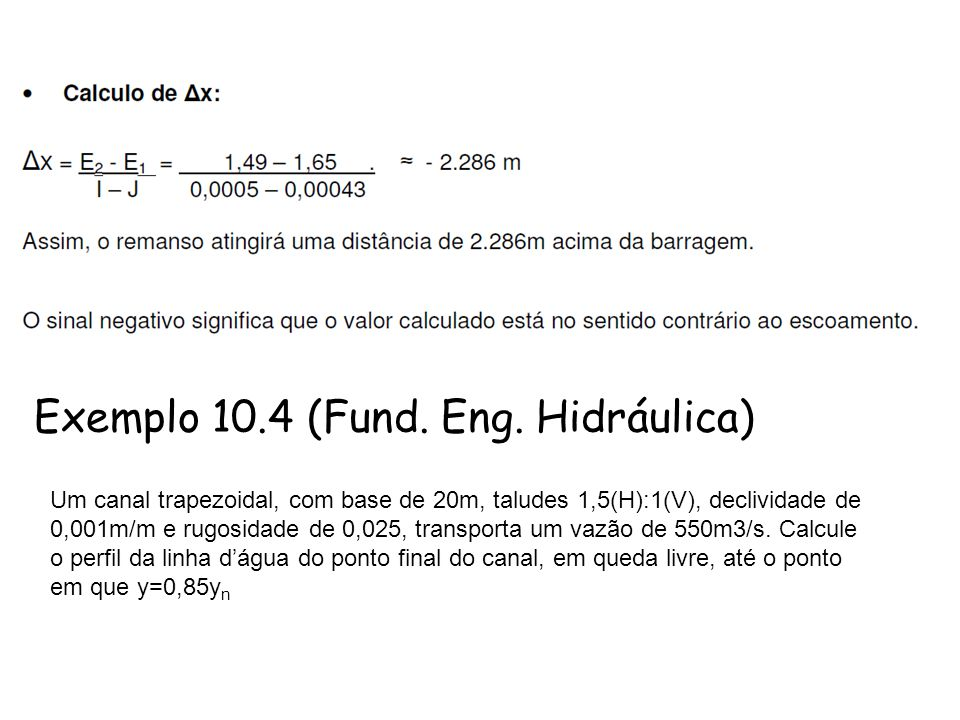 Exemplo 10.4 (Fund. Eng. Hidráulica)