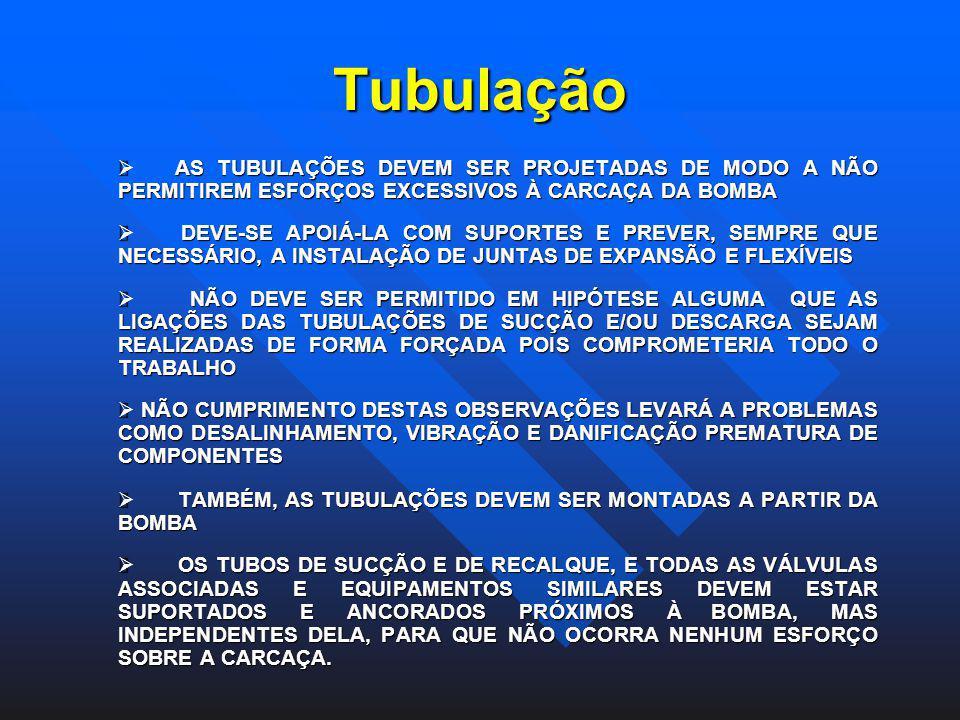 Tubulação Ø AS TUBULAÇÕES DEVEM SER PROJETADAS DE MODO A NÃO PERMITIREM ESFORÇOS EXCESSIVOS À CARCAÇA DA BOMBA.