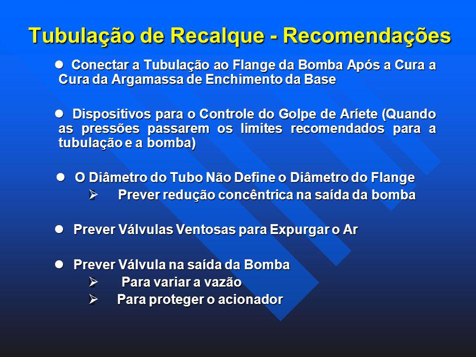 Tubulação de Recalque - Recomendações