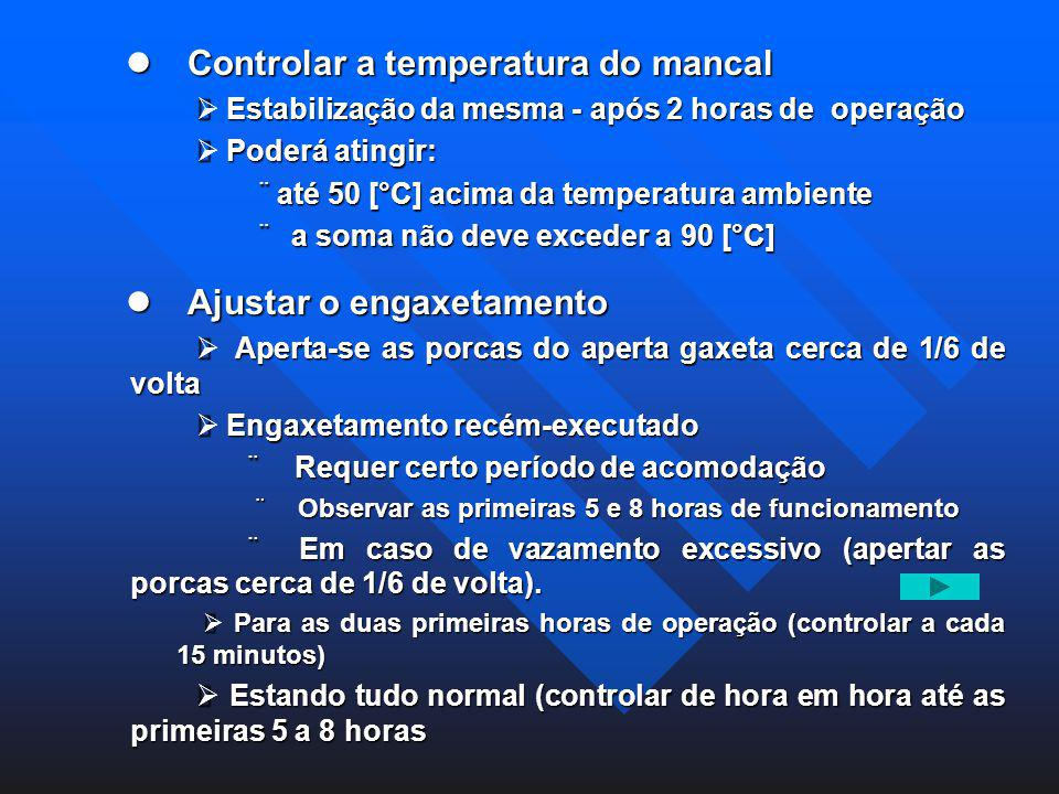 l Controlar a temperatura do mancal