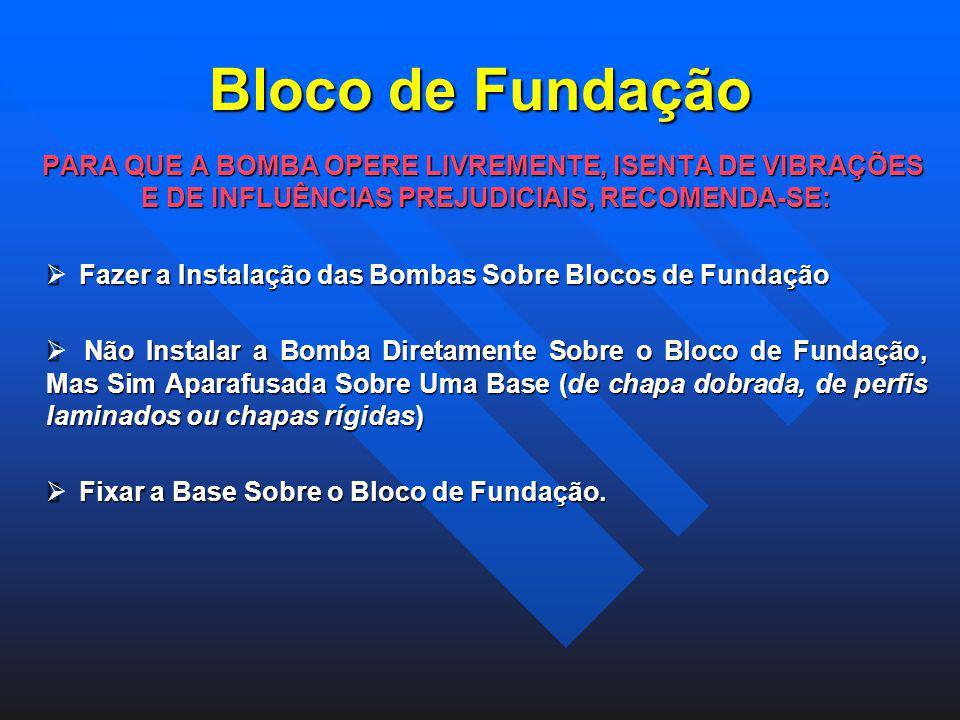 Bloco de Fundação PARA QUE A BOMBA OPERE LIVREMENTE, ISENTA DE VIBRAÇÕES E DE INFLUÊNCIAS PREJUDICIAIS, RECOMENDA-SE: