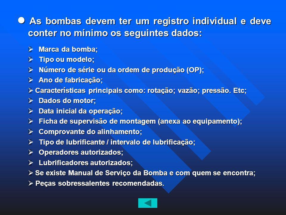 l As bombas devem ter um registro individual e deve conter no mínimo os seguintes dados: